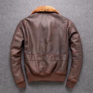 Image 5 - 送料無料。クラシックG1 爆撃機、メンズ屋外牛革コート、ヴィンテージ革ジャケット、男性本革ジャケット。ブラウン生き抜く