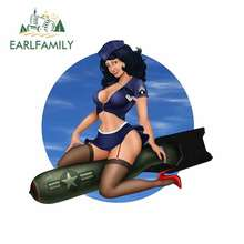 EARLFAMILY 13cm x 11.7cm Air Force Brunette Pin Up Girl Car Decals Waterproof Personality Stickers Suitable For GTR EVO