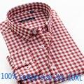 Мужская хлопковая рубашка в клетку, Повседневная однобортная рубашка с длинным рукавом, высокого качества, размера плюс, 2XL-6XL7XL8XL9XL10XL