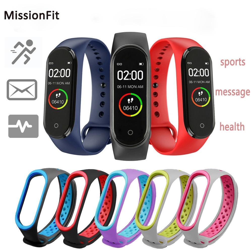 M4 Смарт-часы, двойной браслет с цветным браслетом, Bluetooth, водонепроницаемый, пульсометр, фитнес-браслет, спортивные Смарт-часы