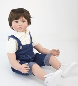 "Image 5 - 60cm Reborn Toddler Boy Doll Silicone Vinyl Limbs 24"" Cute Baby Doll Cloth Body Birthday Gift Girls Play House Boneca"