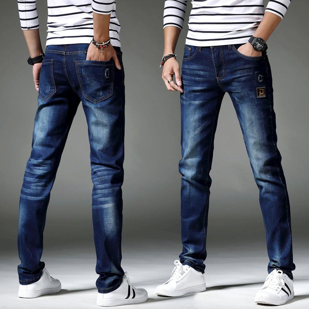 Winter New Style Men's Medium Waist Cowboy Korean-style Fashion Fashion Elasticity Skinny Pants Slim Fit Versatile Trousers
