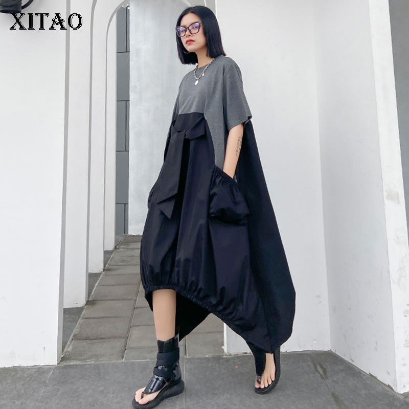 XITAO Irregular Pleated Hit Color Dress Plus Size Loose Covering Belly Pullover Short Sleeve Elegant Dress 2020 Summer  XJ4818