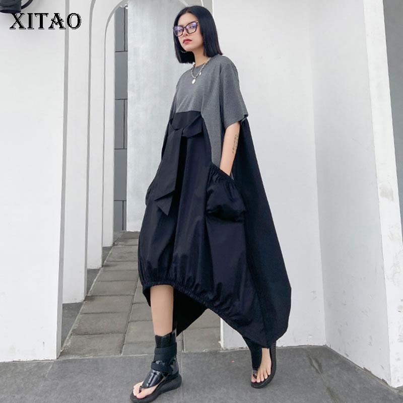 XITAO irrégulière plissé Hit couleur robe grande taille couverture ample ventre pull à manches courtes robe élégante 2020 été XJ4818