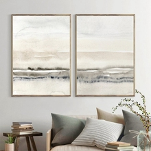 Beige and Grey Canvas Paintings Abstract Watercolor Posters and Prints Modern Minimalist Wall Art Pictures for Living Room Decor