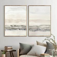 Pinturas en lienzo Beige y gris pósteres e impresiones abstractas de acuarela imágenes artísticas de pared minimalistas modernas para decoración para sala de estar