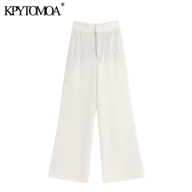 KPYTOMOA Women 2020 Chic Fashion Office Wear Pockets Wide Leg Pants Vintage High Waist Zipper Fly Female Trousers Pantalones