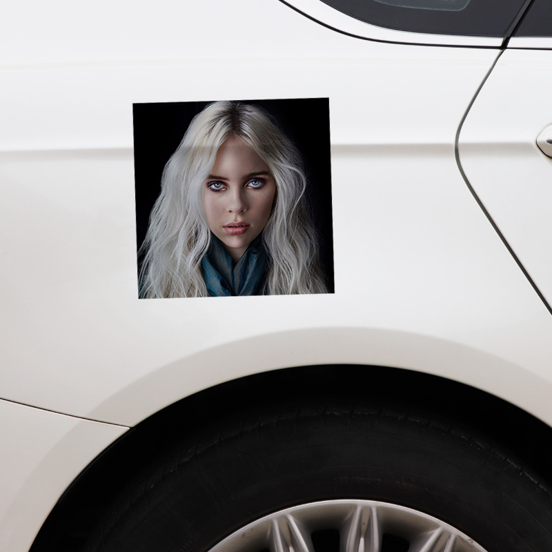 Купить с кэшбэком 13CM*13CM Billie Eilish Car Sticker Reflective Funny Decal PVC