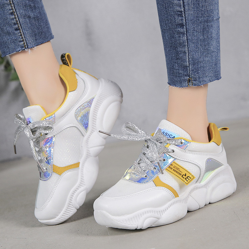 Women Casual Shoes 2019 New Spring Fashion Sneakers Shoes Women Flats Platform Lace-Up Breathable Women Sneakers