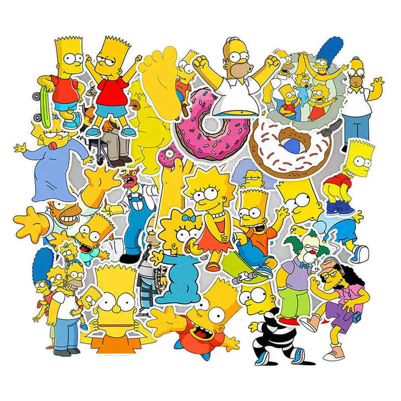 50 Pcs Lucu Kartun Anime Simpsons Stiker Laptop Stiker Kulkas Mobil Skateboard Graffiti Tahan Air Stiker