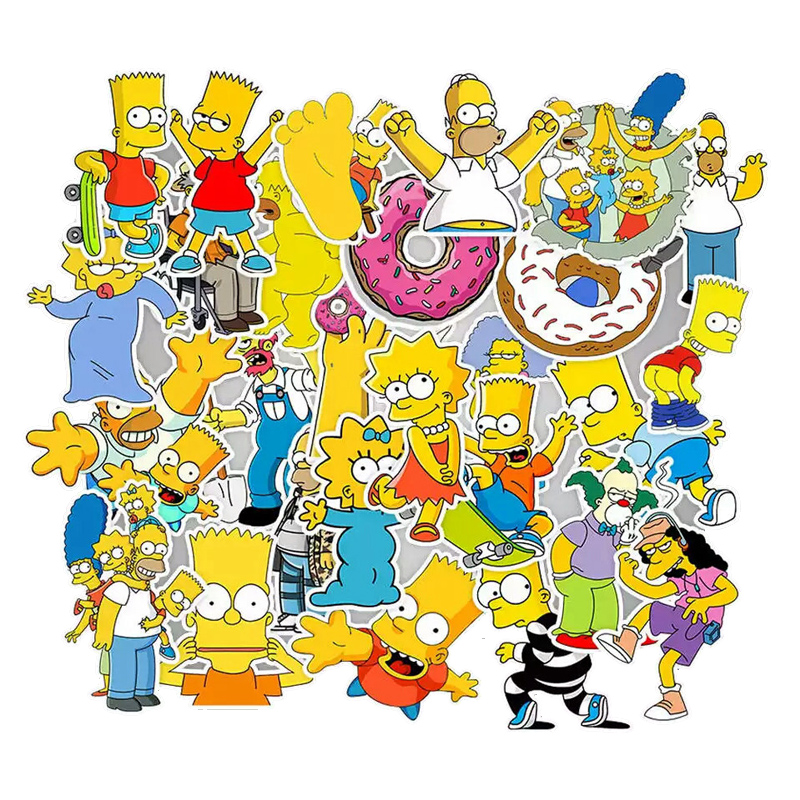 50pcs Funny Anime Cartoon Simpsons Stickers Laptop Sticker Decal Fridge Car Skateboard  Graffiti  Waterproof Sticker