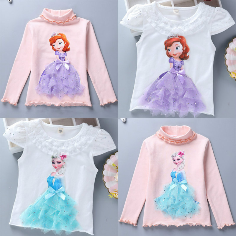 2020 Childen Sofia T-Shirts For Girl Summer Cotton Lace Tee Princess T Shirt Autumn 3D Diamond Appliques Kid Birthday Party Tops