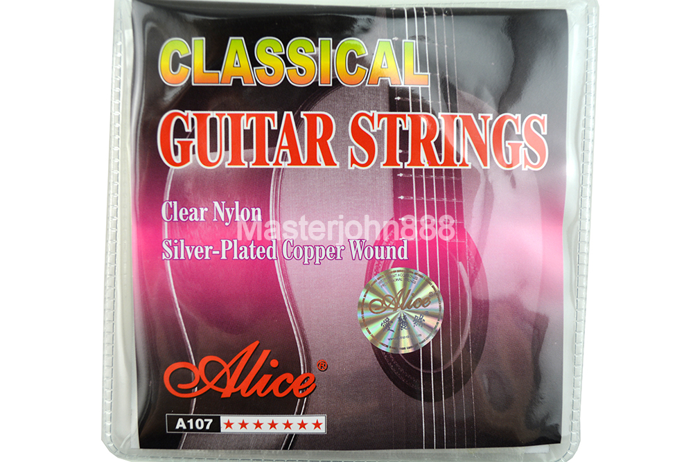 Alice A107-N Clear Nylon Silver Plated Copper Alloy Wound Classical Guitar Strings 1st-6th Strings Free Shippng