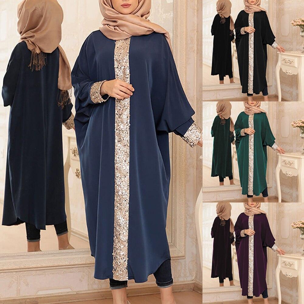 2020 Muslim Gown Sequined Loose-Fitting Bangladesh Dubai Abaya Kimono Turkish Kaftan Islamic Clothing Muslim Dress Women