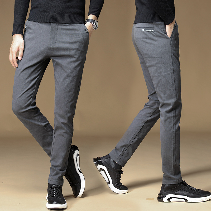 Casual Pants Men's 2019 New Style Autumn Popular Brand MEN'S Sports Trousers Solid Color Korean-style Slim Fit Straight-Cut Suit