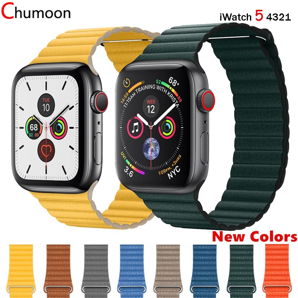 Correa de cuero para apple watch Correa 44 mm 40mm iwatch Correa 42mm 38mm correa de reloj de cuero genuino apple watch 5 4 3 2 1