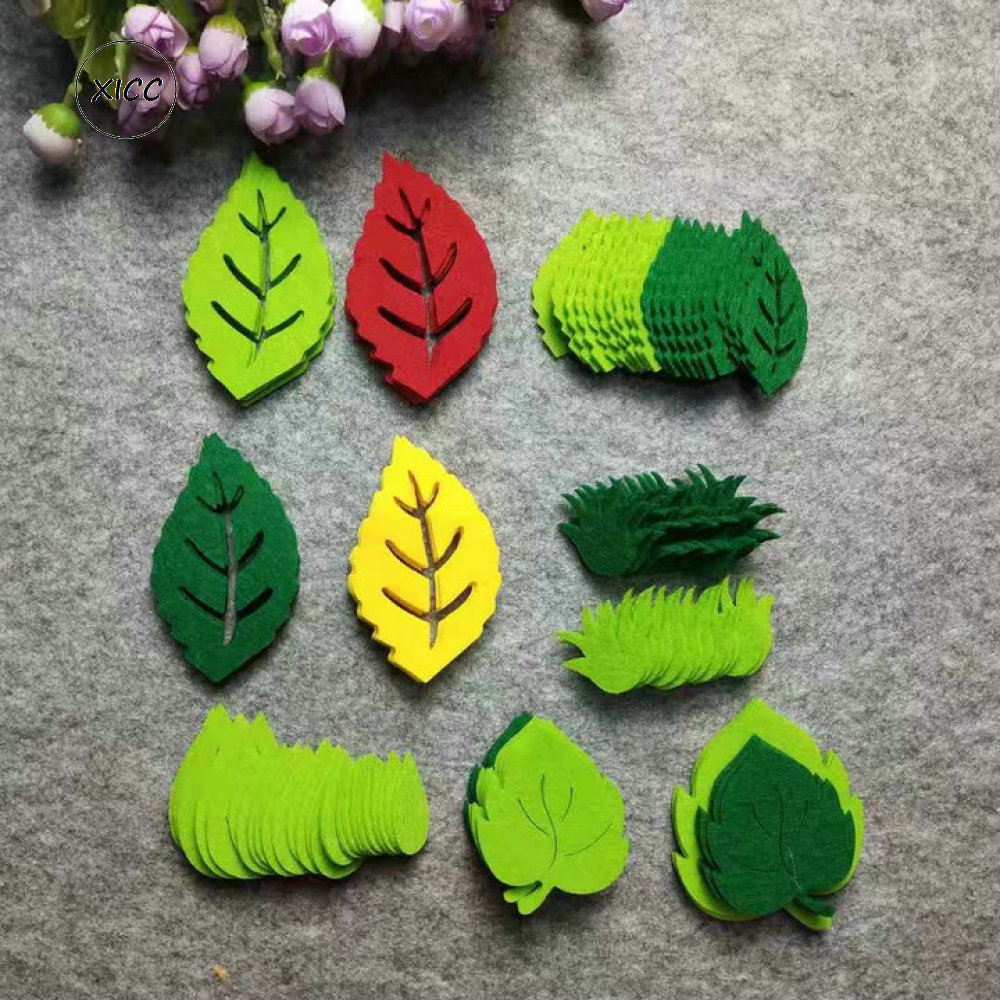 XICC Leaf Felt Non Woven Green Tree Leaves Patch Kindergarten School Wall Decoration Kids Christmas Party Diy Crafts Accessories