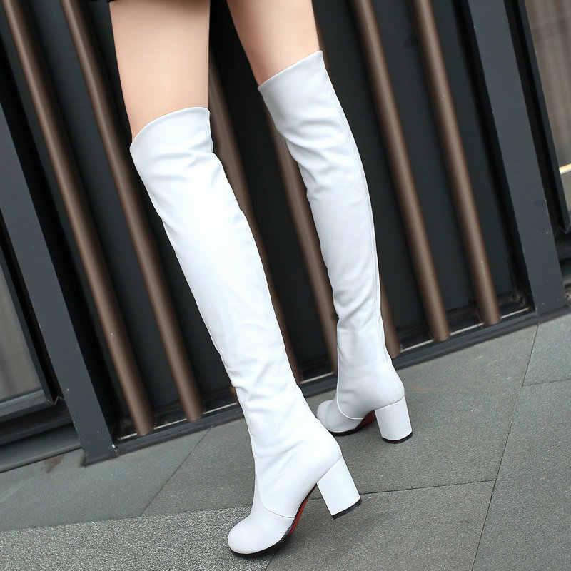 Moda Diz Yüksek Çizmeler kadın Kış Çizmeler Kalın Yüksek Topuklu Uzun Çizmeler Yuvarlak Kayma Bahar Sonbahar Ayakkabı Kadın siyah Beyaz