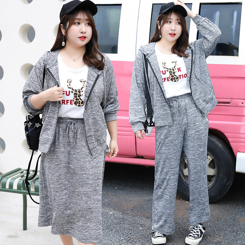 [Xuan Chen] Spring And Summer New Style Fat Mm Large Size Dress Plus-sized Casual Sports Three-piece Set 1745