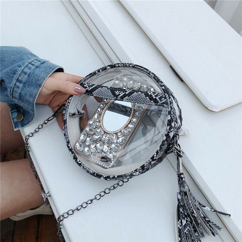 Women Transparent Handbag Shoulder Bag Clear Leopard Purse Clutch Plastic Tote Handbag Hot Sellings