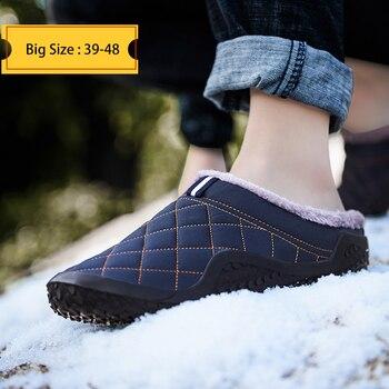 Мужские зимние уличные тапочки из хлопка, водонепроницаемая повседневная обувь с защитой от холода, плюшевая Теплая мужская обувь больших ...