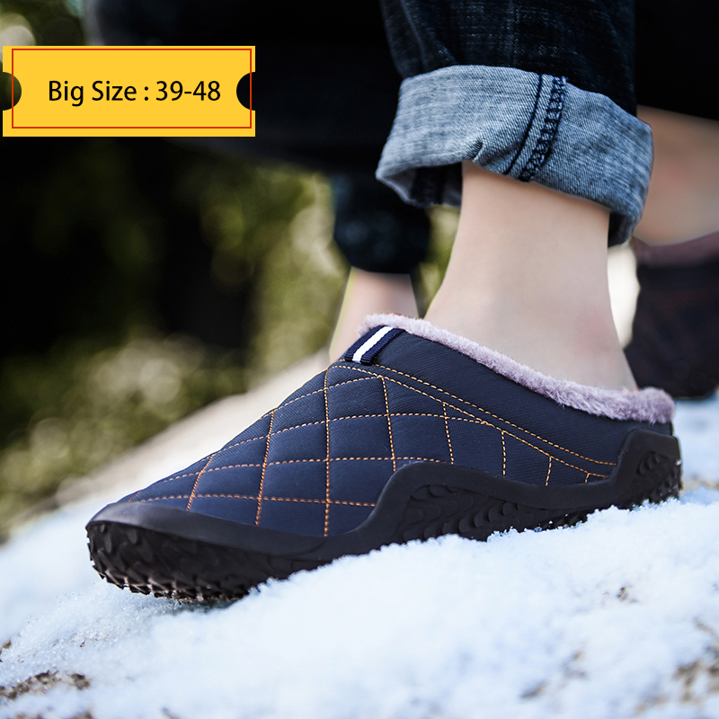 Pantoufles d'hiver en coton pour hommes, chaussures d'extérieur, étanches au froid, en peluche, chaudes, grandes tailles 39-48, collection chaussures décontractées