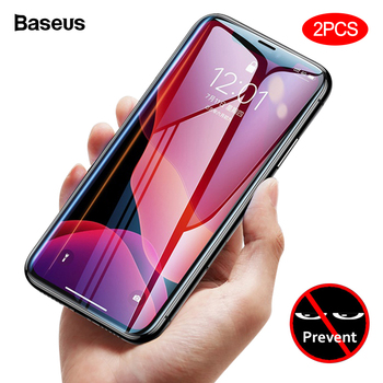 Baseus 2Pcs 0.23mm Full Screen Protector For iPhone 11 Pro Max Privacy Protection Cover Tempered Glass Film For iPhone Xs Max Xr