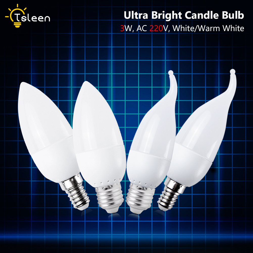 1/10PCS E27 E14 LED Candle Bulbs 3W 220V Candle Light Spotlight Chandelier Cool Warm White Lighting High Power LED Lamps