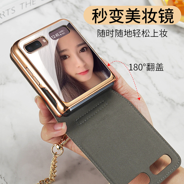 Magnetic Mirror Case for Samsung Z Flip 5G Cover Makeups Bag Phone Case with Chain Strap Shockproof Shell for Galaxy Z Flip Case 6
