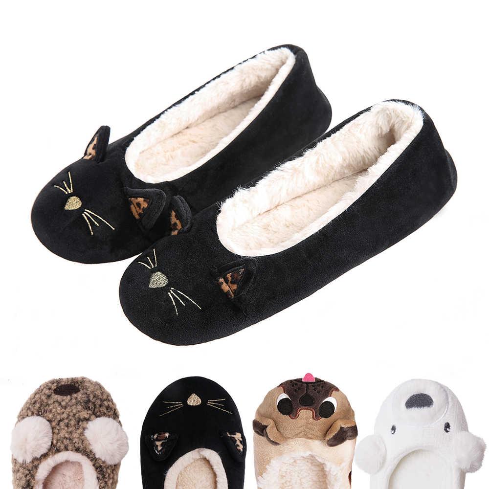 ผู้หญิง Winter สัตว์บ้านน่ารัก Pug รองเท้าแตะสุนัข