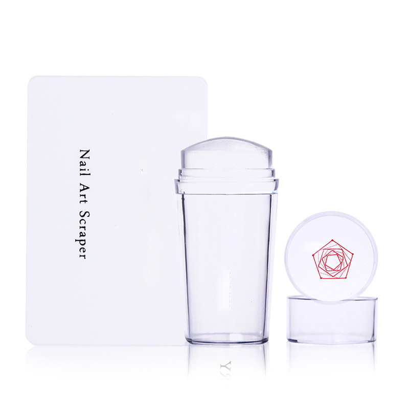 NICOLE DIARY Nail Art Templates  Clear Jelly Silicone Nail Stamping Plate Scraper With Cap Transparent Nail Stamper Nail Art
