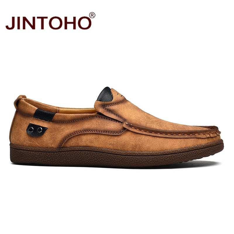 Jintoho marca de moda homens sapatos masculinos sapatos de couro genuíno sapatos casuais masculinos sapatos de couro deslizamento em mocassins