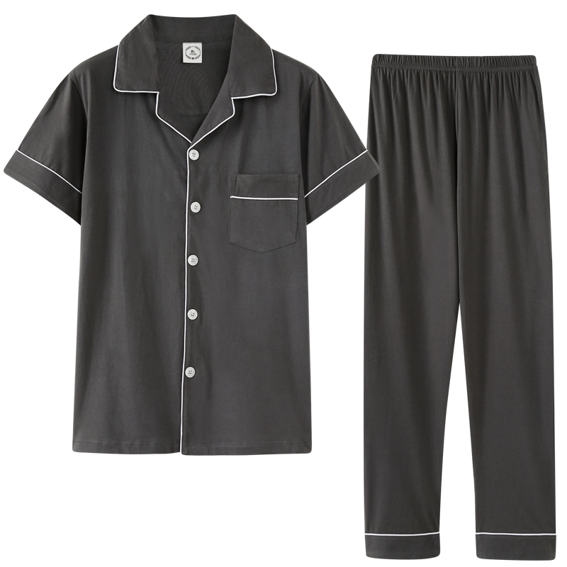 New Pajamas For Men Turn Down Collar Fashion Style Solid Homesuit Homeclothes Pajamas Sets Short Sleeve Long Pants Sleepwear