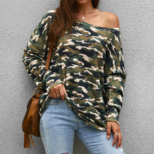 Ladies Casual Camouflage T-shirt Long Sleeve Tops Sexy One Shoulder Women Tee Shirt 2019 Autumn Female Loose Print T D30
