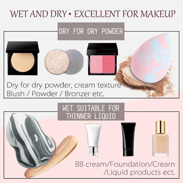 Makeup Foundation Sponge Makeup Cosmetic puff Powder Smooth Beauty Cosmetic makeup sponge Marbling Blender Water-drop Shape Puff 5