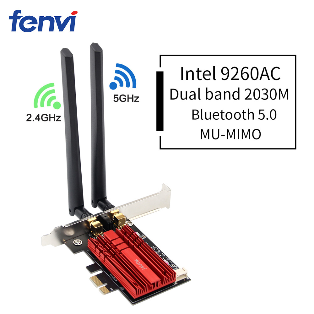 Dual Band Wireless AC Desktop PCI E Intel 9260AC 8265/8260AC 802.11ac 2.4G/5Ghz WiFi Bluetooth PCI Express Wireless WiFi Adapter-in Network Cards from Computer & Office