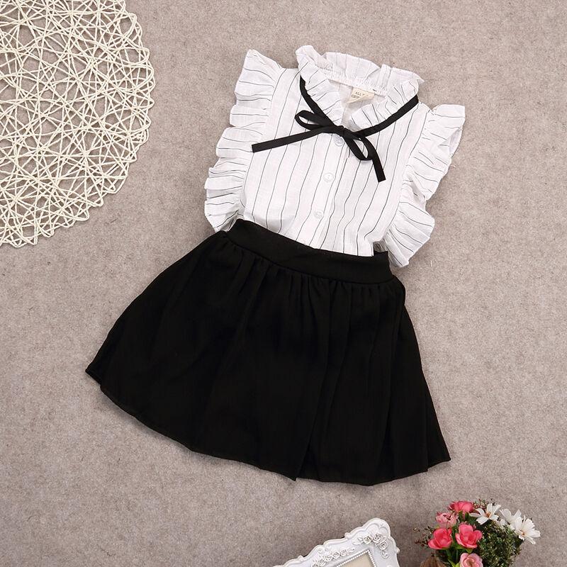 Nette Kleinkind Kinder Baby Mädchen Sommer Casual Fly Hülse Tops + Röcke 2 stücke Outfits Sets Party Kleidung Für 2-7Years
