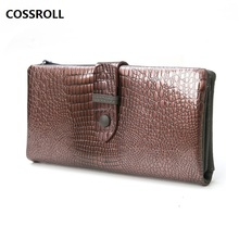 100% cow leather women wallets long genuine wallet  luxury brand female purse real card holder
