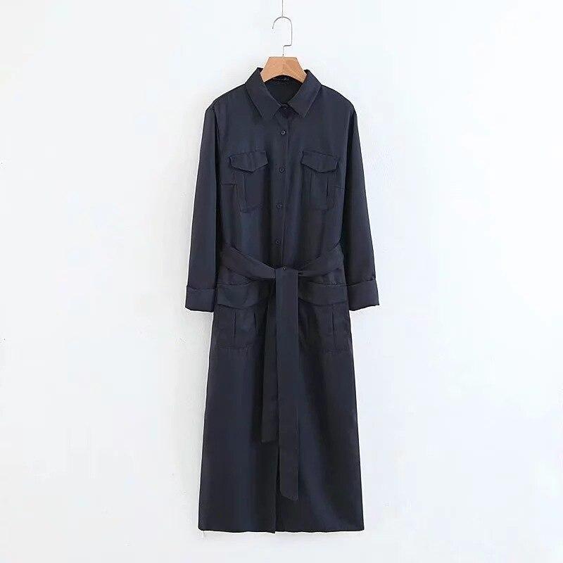 Xz-1776 Long Skirts 2018 Autumn WOMEN'S Dress Fold-down Collar Purplish Blue Pocket Long Shirt Dress