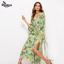 Ruoru Boho Maxi Dress Robe Femme Floral Printed Long Dress Loose Plus Size Beach Dress Bell Sleeve Vestidos De Fiesta Women plus flower applique knot bell sleeve bardot dress