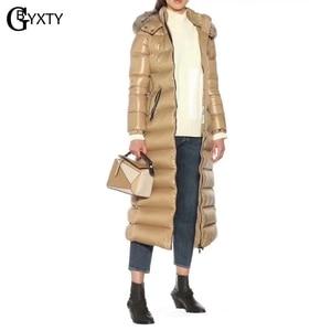 Image 4 - Gbyxty本物のキツネの毛皮の襟厚い 2020 冬の女性のフード付きロングダックダウンジャケットアウターフェザーパーカーブランドZA1766