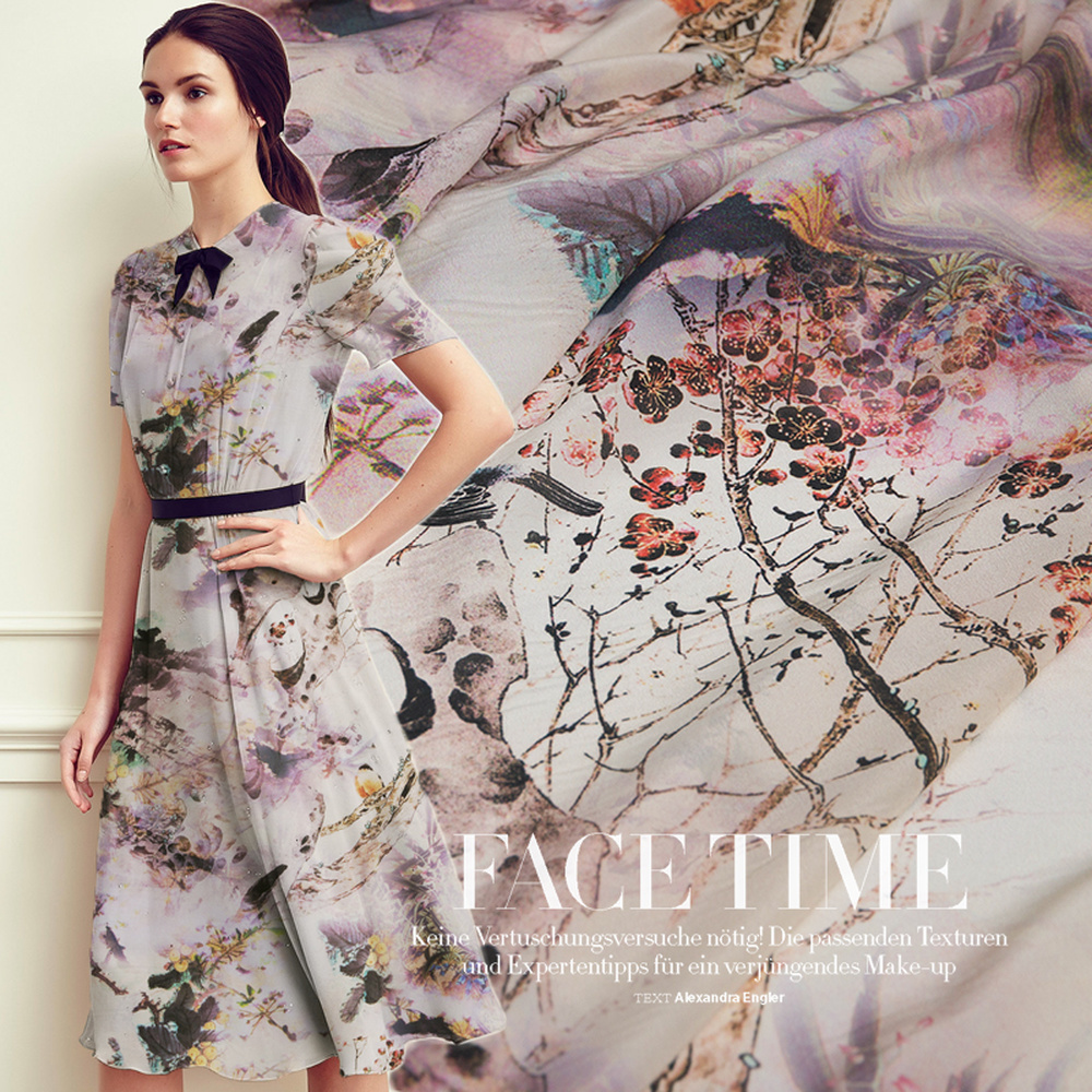Poetry And Painting Pastoral Summer Mulberry Silk DIY Dress Shirt Garment Material Drape Breathable Silk Crepe-De-Chine Fabric