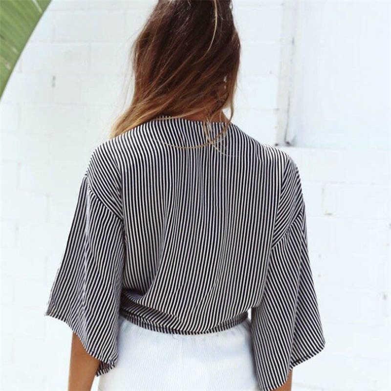แฟชั่นผู้หญิง Crop TOP Casual Tie-Front Crop Tops V-Neck Flared เสื้อโบว์สุภาพสตรี Tops ผู้หญิงเสื้อฤดูร้อน tee เสื้อ