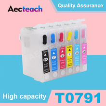 Aecteach набор чернил для заправки картриджа T0791 для Epson Stylus Photo 1400 1500W P50 Artisan 1430 принтер