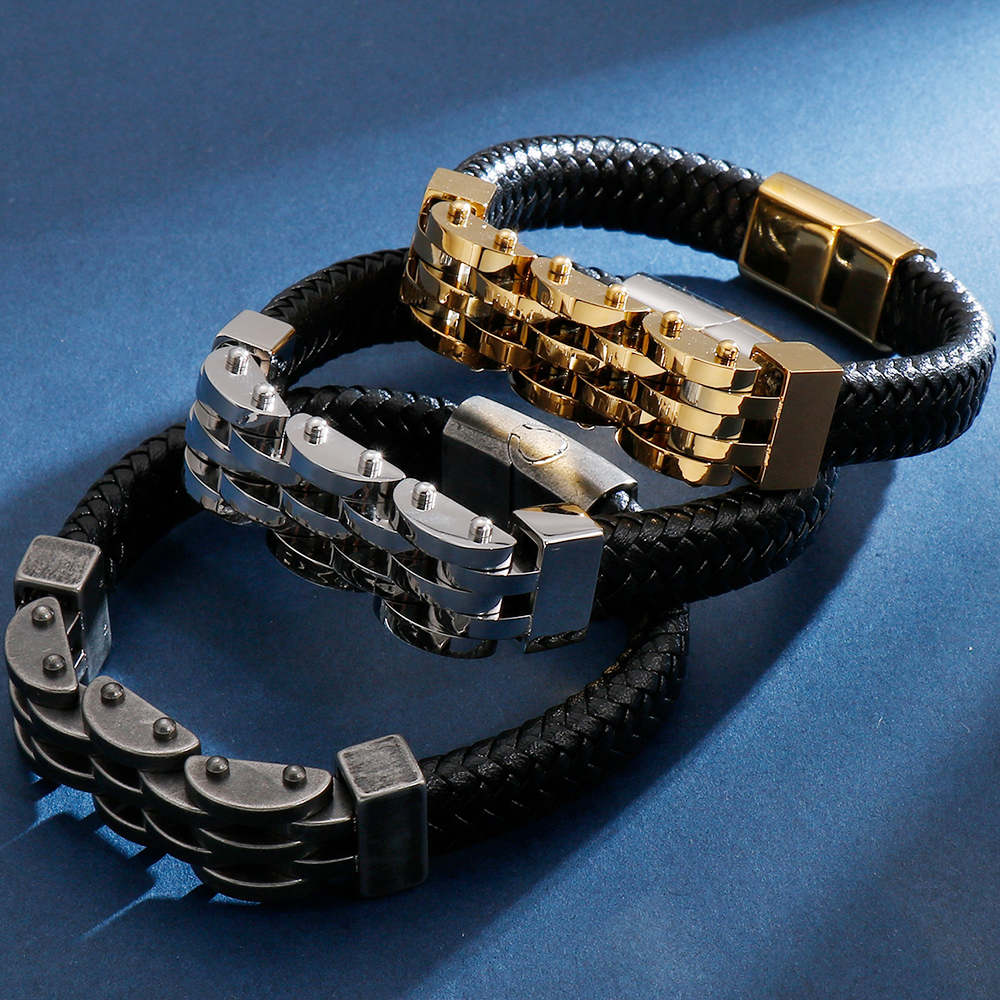 12MM Men's Braided Leather Bracelets Armband Heren With Magnetic Clasp Elegant Bracelet For Men Gold Black S.Steel Dropshipping
