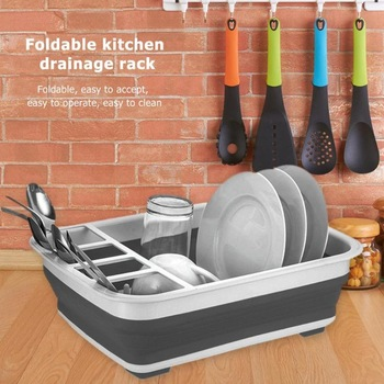 New Foldable Dish Rack Kitchen Storage Holder Drainer Bowl Tableware Plate Portable Drying Rack Home Shelf Dinnerware Organizer