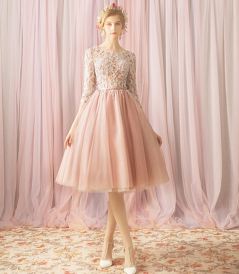 2020 Short Cocktail Dresses Bridal Banquet Pink Tulle Appliques Lace Party Formal Dress Homecoming Dress Robe De Soiree