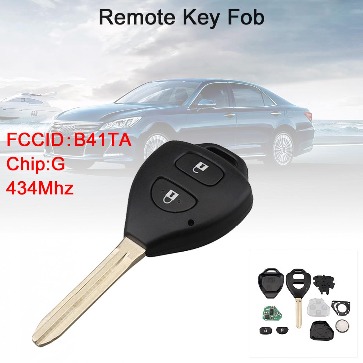 434Mhz 2 Buttons Car <font><b>Remote</b></font> <font><b>Key</b></font> Fob with G Chip B41TA Fit for <font><b>Toyota</b></font> Hilux /<font><b>Yaris</b></font> 2009 - 2015 image