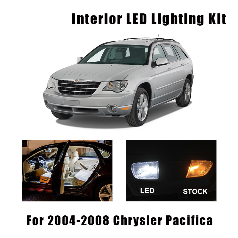 12pcs White LED Interior Light Canbus License Plate Bulbs Kit Fit For 2004-2006 2007 2008 Chrysler Pacifica Map Dome Cargo Lamp