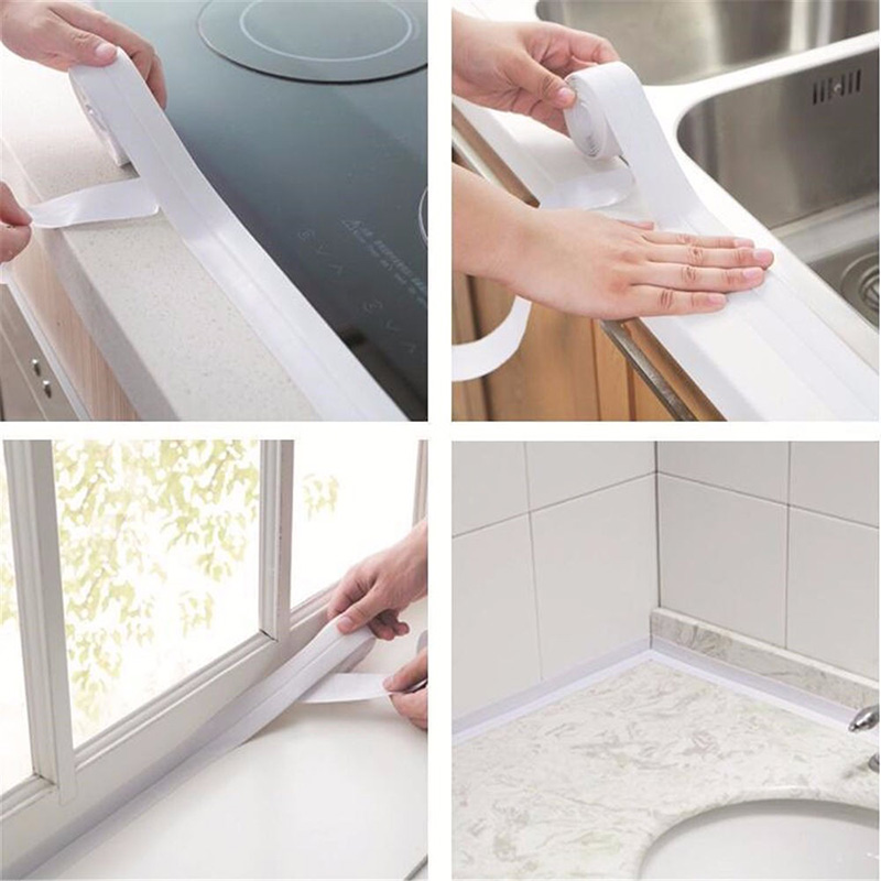 1 ROLL PVC Material Bathroom Kitchen Shower Heat Resistant Water Proof Mould Proof Tape Sink Sealing Strip Self Adhesive Tape